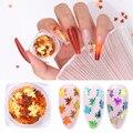 1 коробка, блестящие кленовые листья для дизайна ногтей