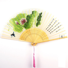 Folding Fan Vintage Summer Silk Bamboo Cooling Chinese  Lady Pocket Ethnic Crafts Wedding Gifts Party Supplies