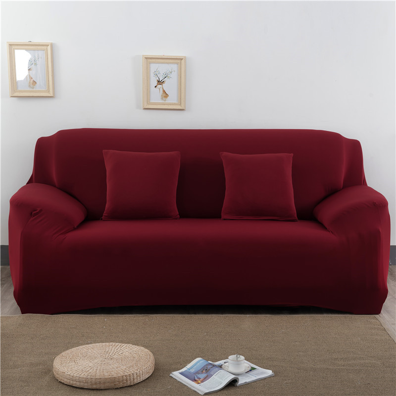 Solid Color Elastic Couch Cover made of Stretchable Material for Singe to 4 Seated Sofa in Living Room 2