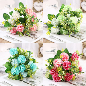 1 bunch of peony artificial flower high quality luxury bouquet wedding decoration home table decoration sky blue fake flower hyd