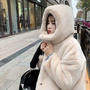 Image 2 - Female Winter New Faux Rabbit Fur Coat Thick Warm Flocking Women Luxury Long Fur Jacket Hooded Thick Warm Parka Coats