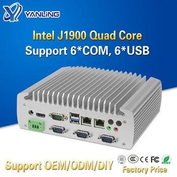 Yanling Fanless Industrial Box Mini PC Intel Celeron J1900 Quad Core Dual Lan Linux Micro Computer Support RS232 RS485 COM