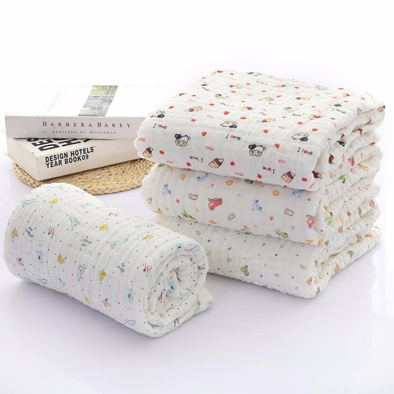 Soft Water Absorption Towels Baby Bath Towels 6 Layers Of Cotton Gauze Flower Print New Born Baby Towels Baby Care Washcloths