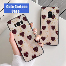 Gold Foil Love Heart Phone Case For Samsung Galaxy S8 S9 S10 Cases Plus Cover Soft Fashion Bling Capa