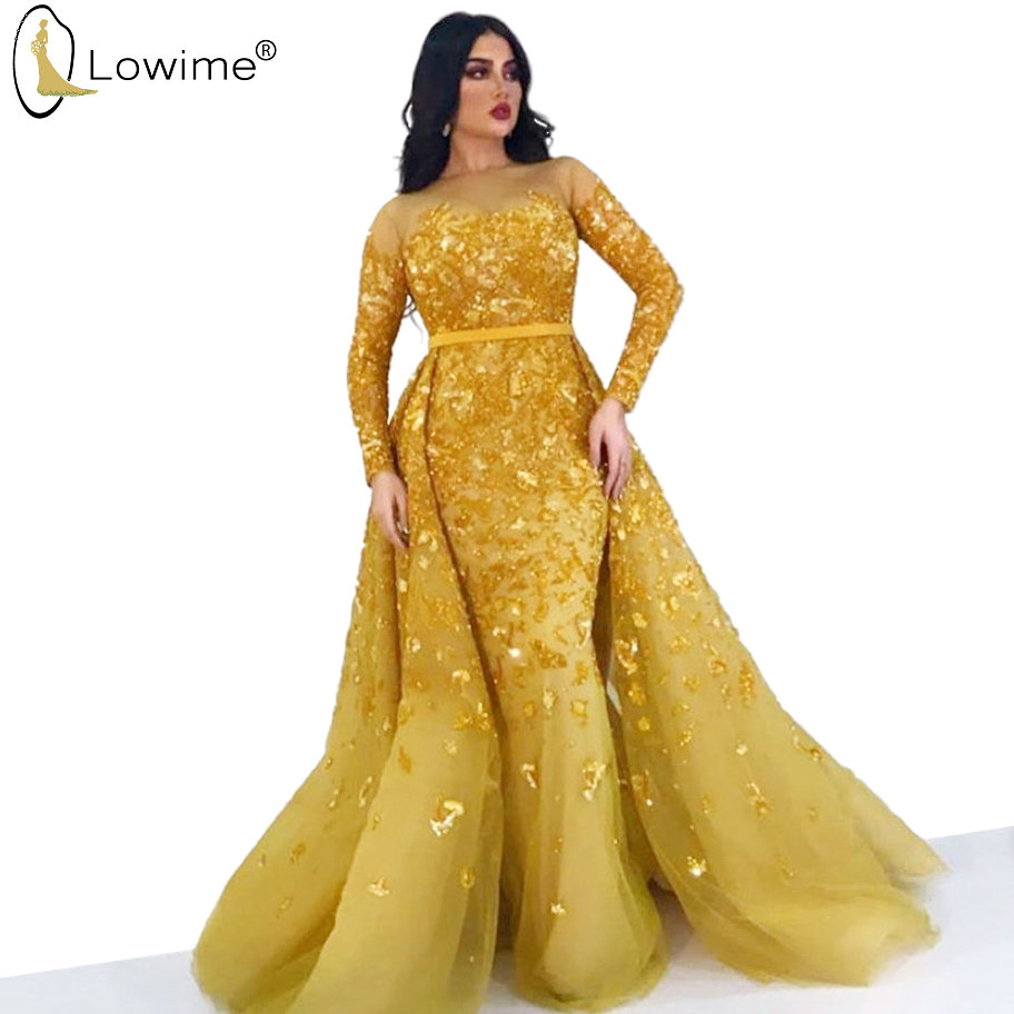 Golden Sequined Long Sleeve Mermaid Evening Dresses Detachable Train Illusion O Neck Robes Prom Party Gowns Vestido De Festa