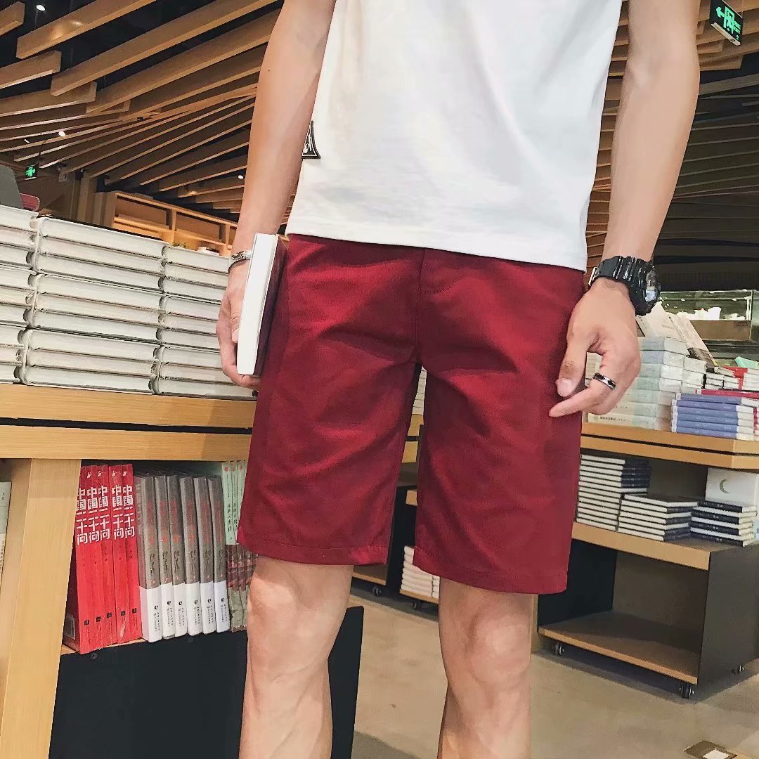 Men Cotton 5 Pants New Style Korean-style Slim Fit Trend Shorts Summer Multi-color Teenager Casual Short Shorts
