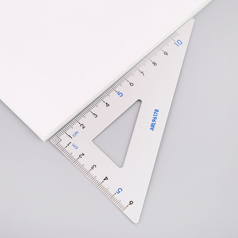 4Pcs Drawing School Supplies Set Square Triangle Ruler Aluminum Alloy Protractor L41E