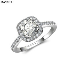 Wedding Engagement Ring Square Cut Halo White Gold Color Bridal Full Rhinestone Simple Open Ring недорого