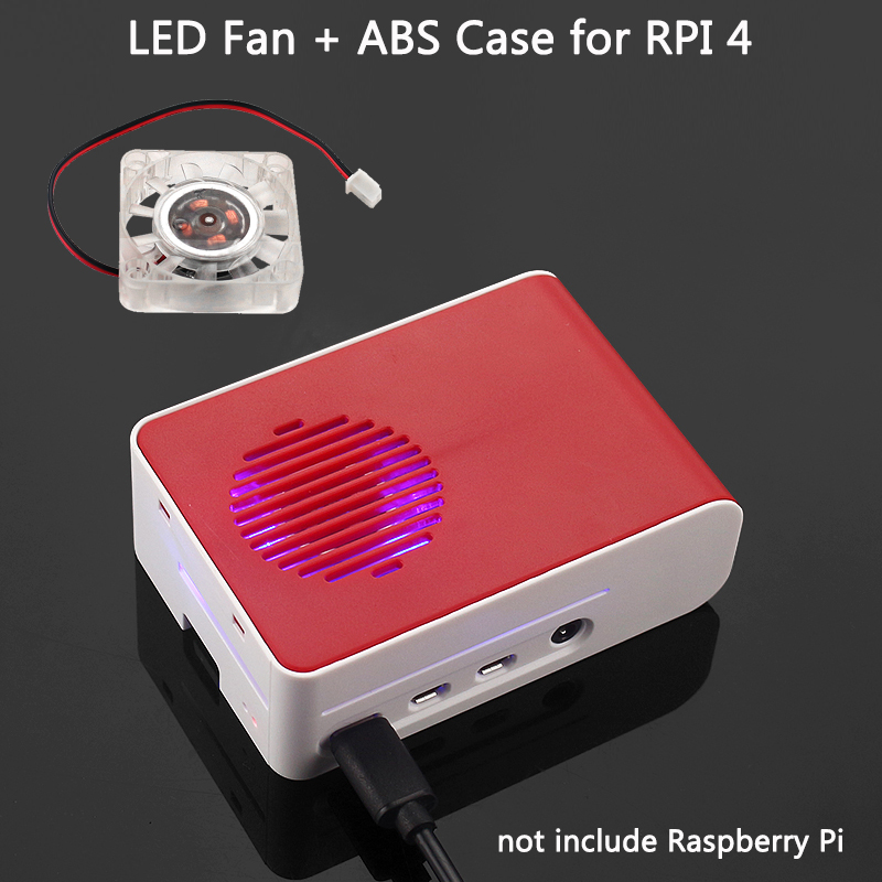 New Raspberry Pi 4 ABS Case With LED Backlight Cooling Fan Red White Housing  Sliding Cover Shell For Raspberry Pi 4 Model B