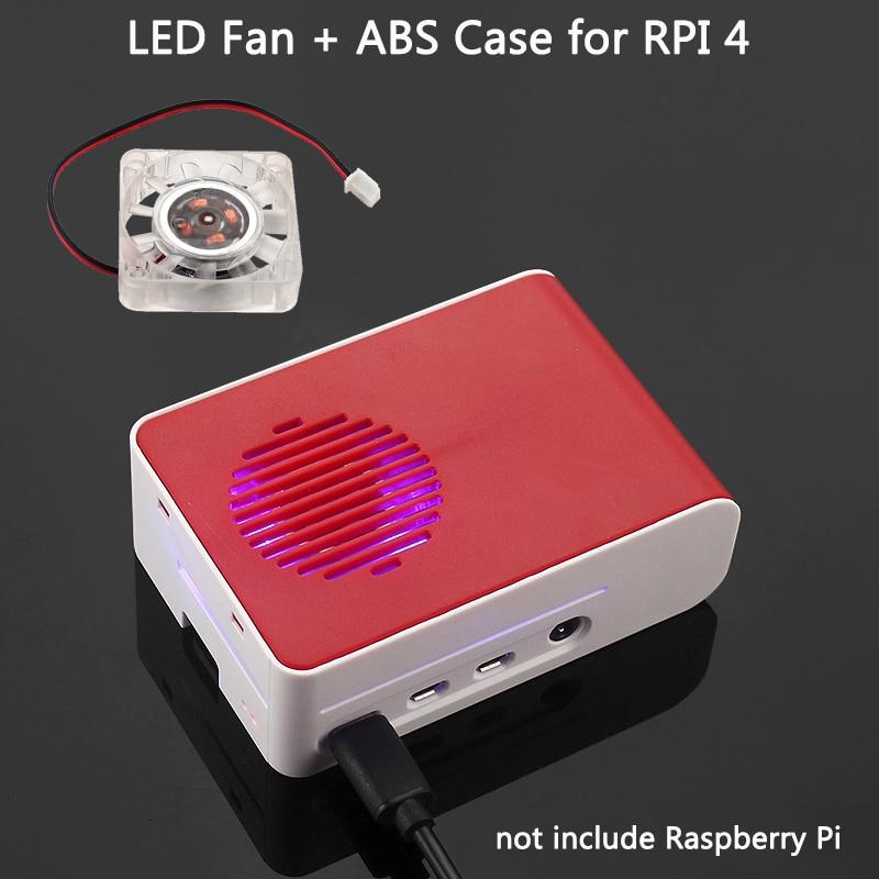 New Raspberry Pi 4 ABS Case With LED Backlight Cooling Fan Red White Housing  Sliding Cover Shell For Raspberry Pi 4 Model B