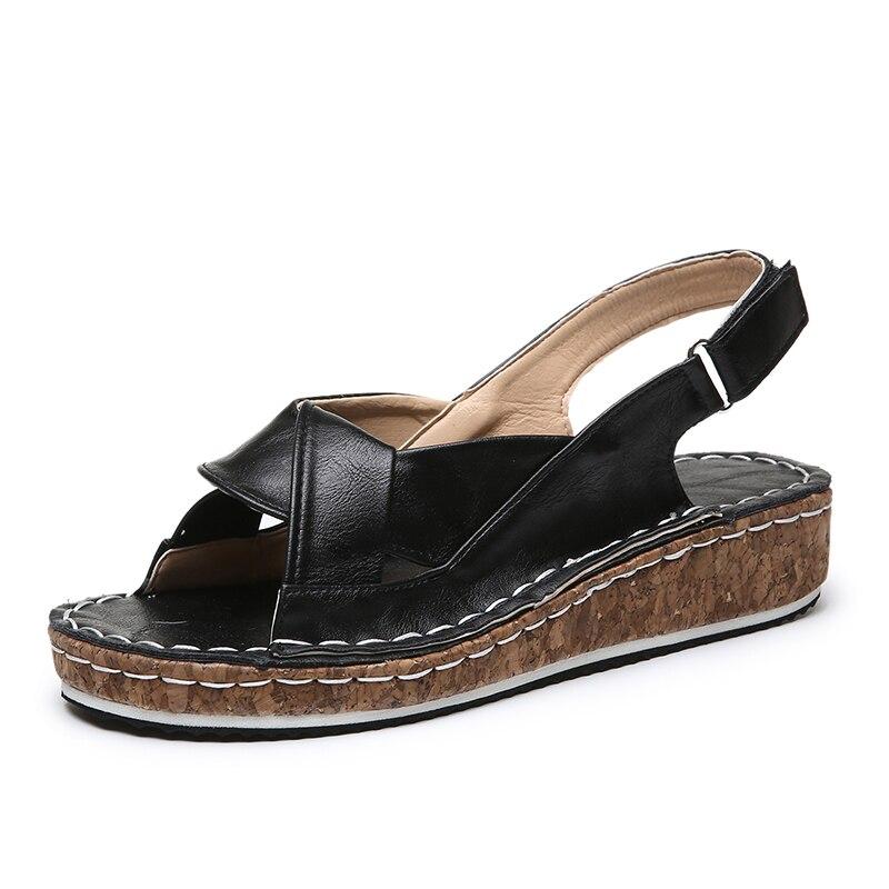 Women's Peep Toe Platform Sandals 2020 Summer Beach Black Brown PU Leather Casual Shoes Woman Plus Size Flat Sandals Red Slides