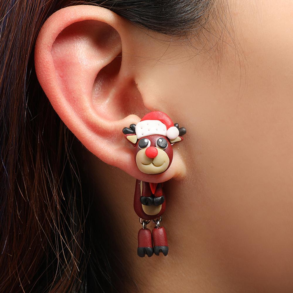 Рождественские креативные серьги с милым Санта-Клаусом, керамические серьги с мультяшным Санта-Клаусом, серьги с большими глазами и оленям...