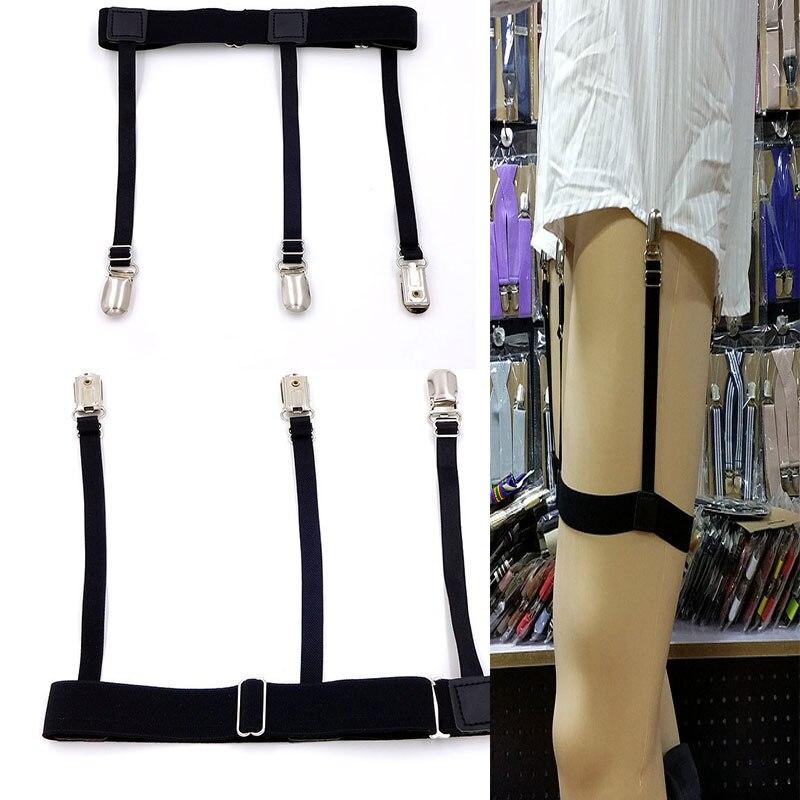 2 Pcs Men Shirt Stays Belt With Non-slip Locking Clips Keep Shirt Tucked Leg Thigh Suspender Garters Strap LL@17