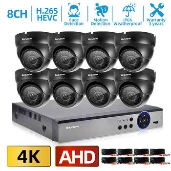 H 265 CCTV DVR System kamer do monitoringu domu 4K 8CH AHD DVR Kit wykrywanie twarzy Dome nadzór wideo IP66 zestaw kamer 8MP tanie i dobre opinie HKIXDISTE CN (pochodzenie) Rohs 4 SZTUK 8 sztuk AHC-AKC212-4K H 265 H 264 H 265 8CH 4K DVR 8 0MP HD Camera Face Detection Motion detection email Alert
