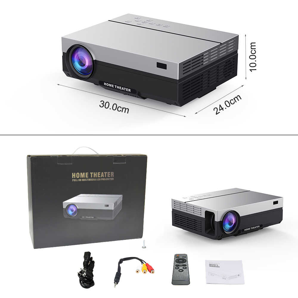 Touyinger T26L T26K 1080P LED Full HD Proyektor Video Proyektor 5800 Lumen FHD 3D Home Cinema HDMI ( Android 9.0 Wifi Opsional)