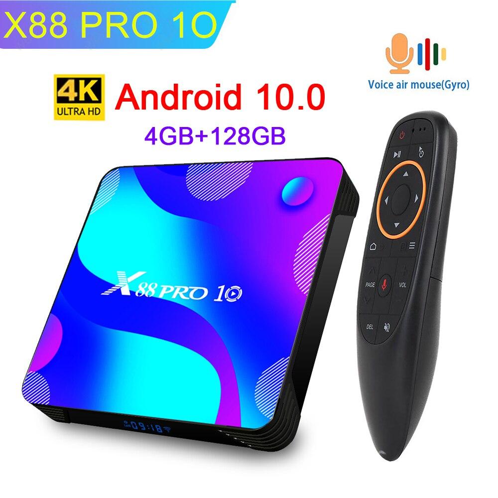 X88 PRO 10 TV Box Android 10.0 4GB 128GB RK3318 Quad Core 4K HD 2.4G/5Ghz Wifi Netflix Youtube 3D Smart Set Top Box Media Player(China)