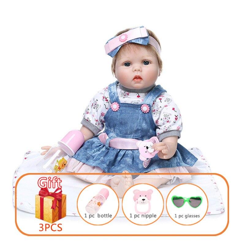 55cm NPK Reborn bébé poupée Silicone poupées Denim jupe Simulation bébé poupée Reborn tout-petits peuvent parler peut pleurer jouets pour enfants
