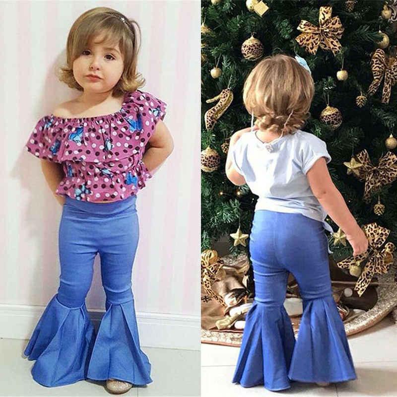 2020 marka aile eşleştirme anne ve kızı Flare pantolon 1-7T çocuk yetişkin anne kız pantolon moda Jean pantolon eşleştirme kıyafetler