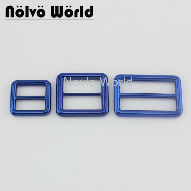 Nolvo World 5-20pcs 2cm 2.6cm 3.8cm 3 Size Fabulous Blue Color Women Bags Should Strap Slider Buckle,Tri-glide Bag Buckles