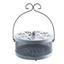 Caja de bobina para mosquitos, resistente al calor, bandeja de almacenamiento grande, soporte seguro para arte del hierro, soporte de temple para jardín, colgante Vintage para el hogar