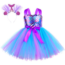 Girls Mermaid Dress Kids Birthday Party Dresses Little Mermaid Princess Costumes for Halloween Christmas Dress Up Clothes Outfit