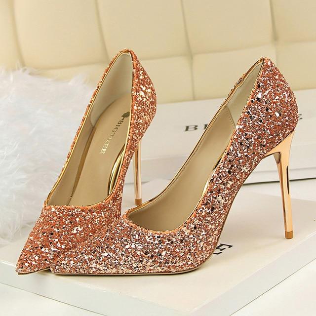 9.5cm High Heels Glitter Scarpins Pumps  1