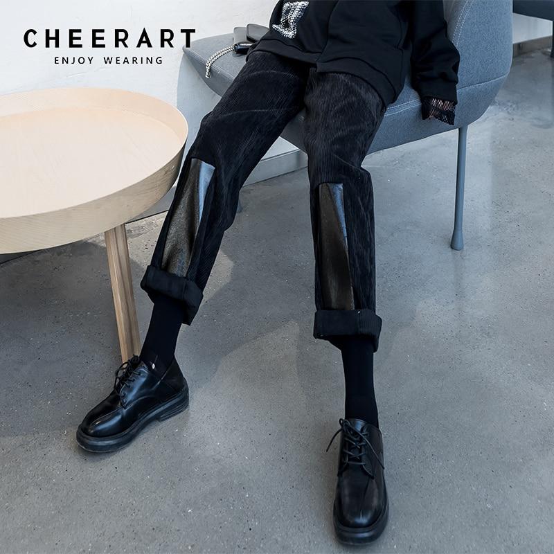 CHEERART Winter Corduroy Pants Patchwork PU Leather Long Pants Trousers Women High Waist Straight Leg Pants 2020