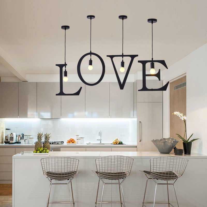 A Z Vintage New Letters Chandeliers Home Creative Lighting Bedroom Decoration Loft Farmhouse Lighting Led E27 Light Fixture Chandeliers Aliexpress