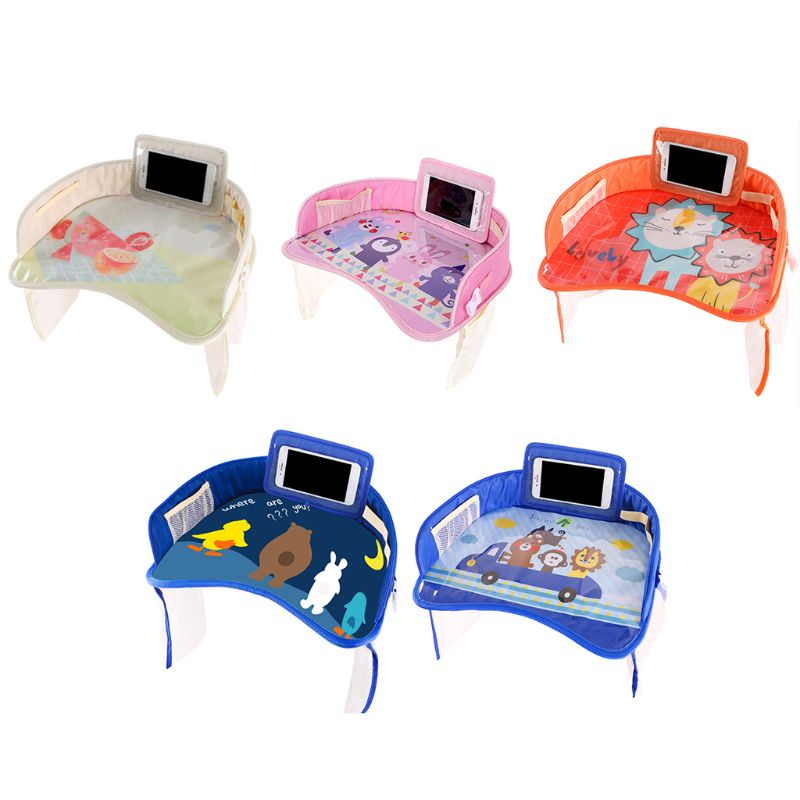Car Safety Seat Dinner Plate, Multifunctional Baby Dining Drawing Table Waterproof Baby Cartoon Table With Fixed Strap