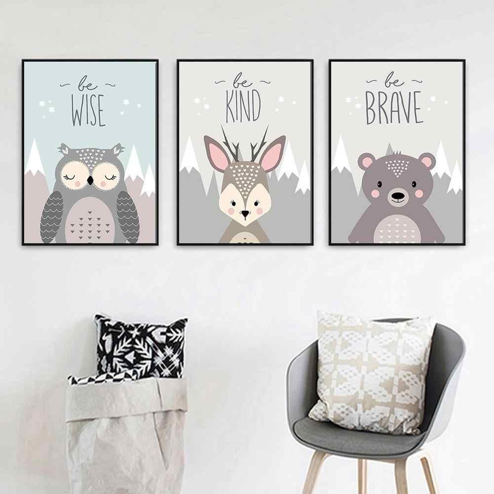 新ラブリー漫画キツネのフクロウ鹿ノルディックキャンバス絵画アート印刷、ポスター画像のウォールベビールームの子供の寝室の家の装飾