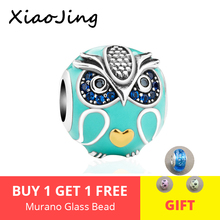New style 925 Sterling Silver enamel owl charms Beads with clear CZ Fit original pandora Bracelets Fashion diy Jewelry for gift
