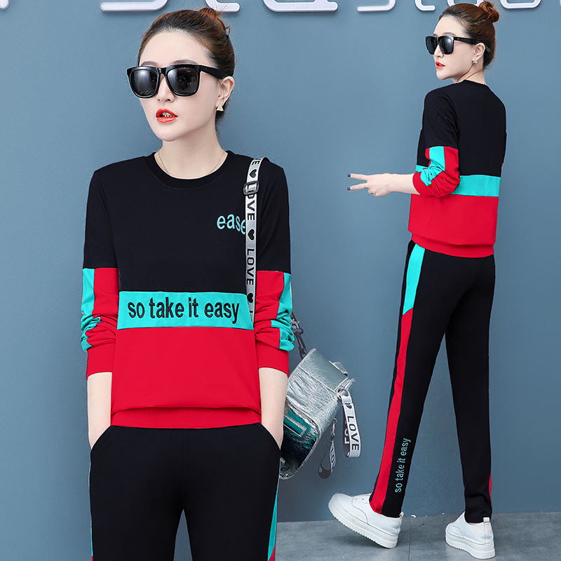 Casual Sports Clothing WOMEN'S Suit 2020 New Style Spring Korean-style Fashion Large Size Pullover Hoody Two-Piece Women's Slimm