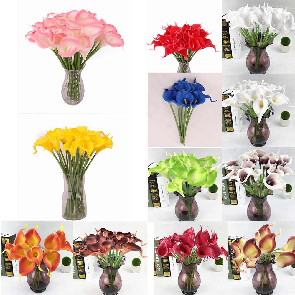 1PC/12pcs โฟม Calla น้ำยางดอกไม้ประดิษฐ์ Calla จริงปลอมดอกไม้บ้านงานแต่งงานตกแต่ง DIY ปลอมดอกไม้ PARTY Decor