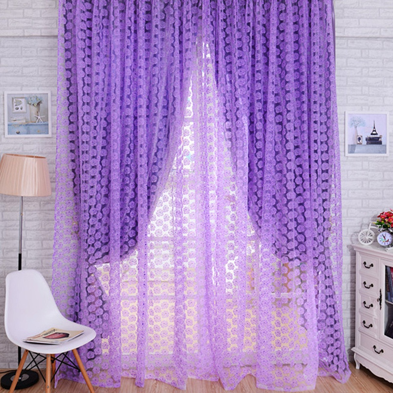 #<font><b>82018</b></font> Creative Hot Rose Flower Voile Window Curtain Door Room Sheer Panel Curtain Scarfs Drapes CM image