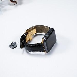 Image 2 - Lederband für Apple uhr 5 4 band 44mm 40mm Schmetterling schnalle iwatch 3 2 strap 42mm 38mm Apple uhr bands Armband