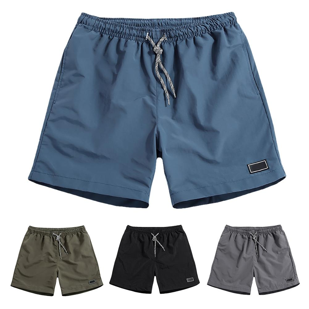 Men Casual Breathable Quick Dry Pants Pockets Beach Solid Color Sport Shorts 1