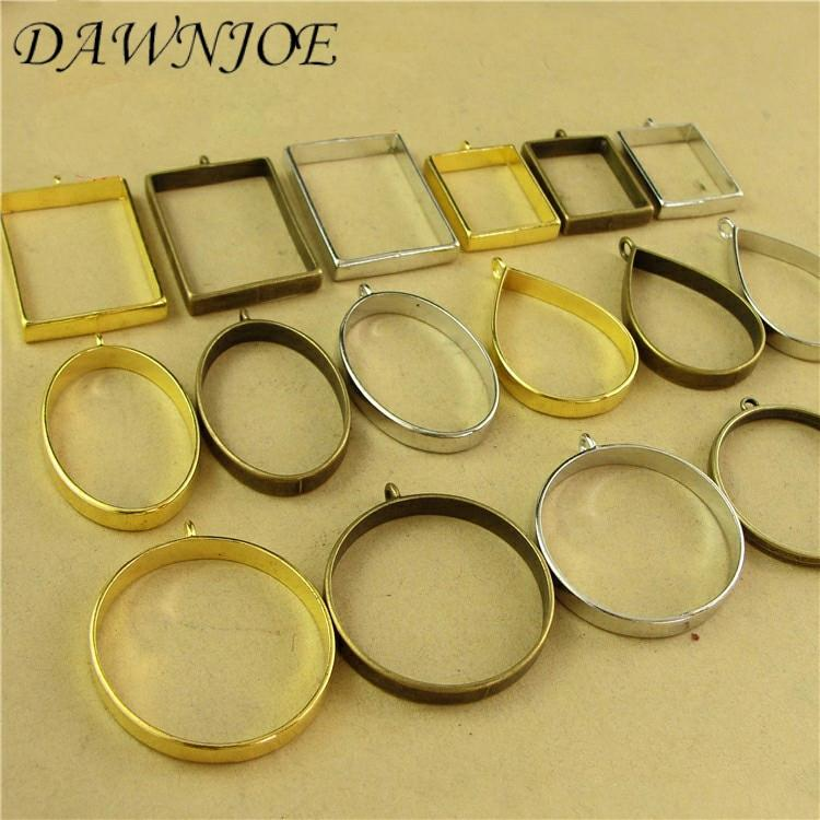 10pcs/lot Vintage Charms UV Epoxy Metal Frame Photo Frame Blank Pendant Base DIY Making Necklace Pendant Jewelry  Finding