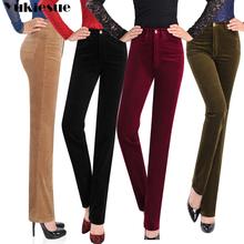 Jesienne spodnie sztruksowe damskie Pantalon Mujer proste spodnie z wysokim stanem Plus rozmiar 3XL spodnie dresowe na co dzień spodnie luźne spodnie damskie tanie tanio YUKIESUE COTTON POLIESTER Pełna długość guzik Z KIESZENIAMI CN (pochodzenie) Zima 9006 Stałe Mieszkanie skinny Ze sztruksu
