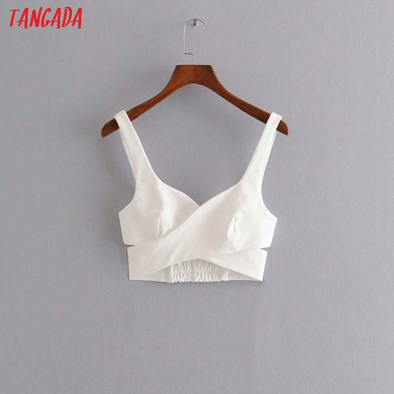 Tangada Women White Crop Tops Sexy Tanks Side Zipper Strappy Backless Camisole Short Tops 2020 Summer Camis 3H390