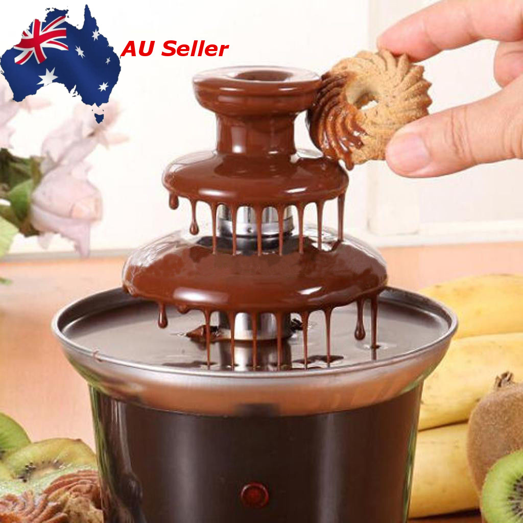 3 Layers Mini Chocolate Fountain Fondue Waterfall Maker Machine Fondue Maker Heated Home Event Exhibition Wedding Party