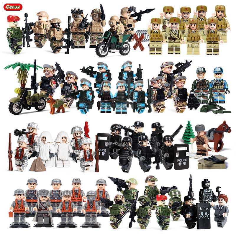 Oenux New WW2 Series Mini Army Soldier Figure Legoings Military Building Block World War 2 US Soviet Army Brick MOC Toy Kid Gift