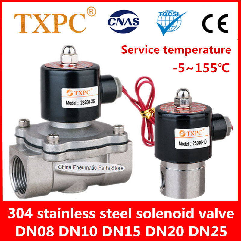 DN8 DN10 DN15 DN20 DN25Stainless Steel Electric Solenoid Valve 220V 110V 24V 12V Normally Closed Water Valve Air Valve