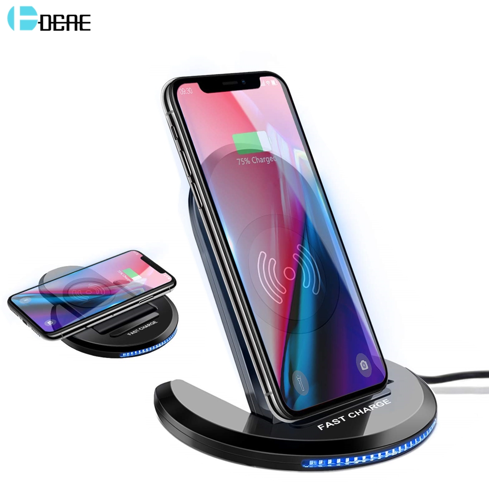 DCAE 10W Qi Wireless Charger for iPhone X XS Max XR 8 Plus QC 3.0 Fast Wireless Charging Stand Pad for Samsung S9 S10 Note 10 9|Wireless Chargers| |  - title=