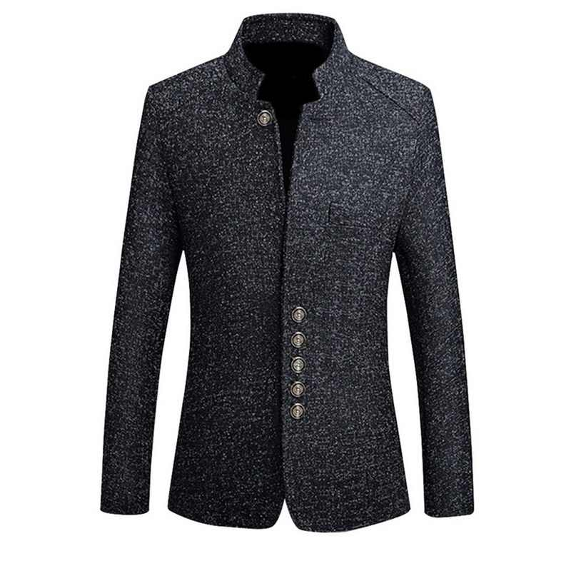 MJARTORIA Mens Vintage Blazer Coats Chinese Style Business Dress Blazers Casual Stand Collar Jackets Male Slim Fit Suit Jacket