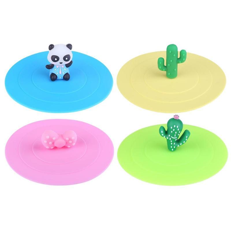 Cactus/Panda Cartoon Cups Lid Reusable Magic Dustproof Silicone Sealed Cover Leakproof Airtight Sealed Cover for Tea Coffee Cups