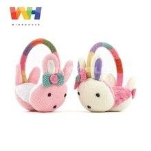 Южнокорейские детские теплые наушники-ушанки с мультяшным кроликом для девочек, Теплые ушанки, флисовые наушники, ветрозащитные зимние наушники
