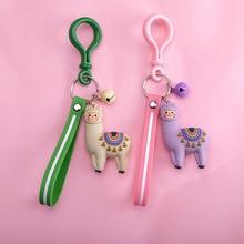 Cute Cartoon Alpaca Doll Keychain Child Toy Animal Bells Key Ring Trinkets Car Purse Key Chains Gift for Women Bag Charm Jewelry цены онлайн