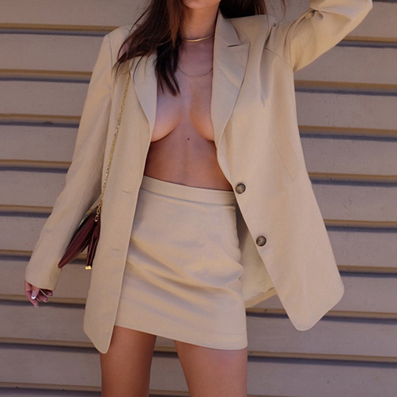 2020 Winter Autumn Women Casual Suit Coat Business Single Breasted Long Sleeve Jacket Skirt Set Office Ladies Fashion Outwear