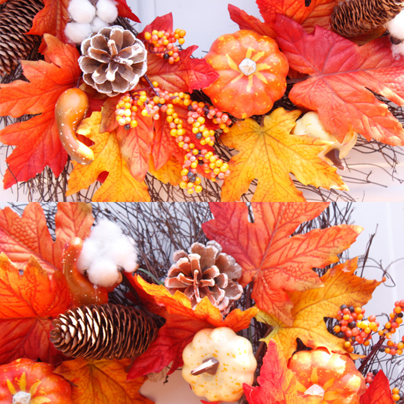 Silk Autumn Wreath Christmas Decoration Thanksgiving Rattan Material Garland Window Restaurant Home Decoration Fall Wreath Door-3