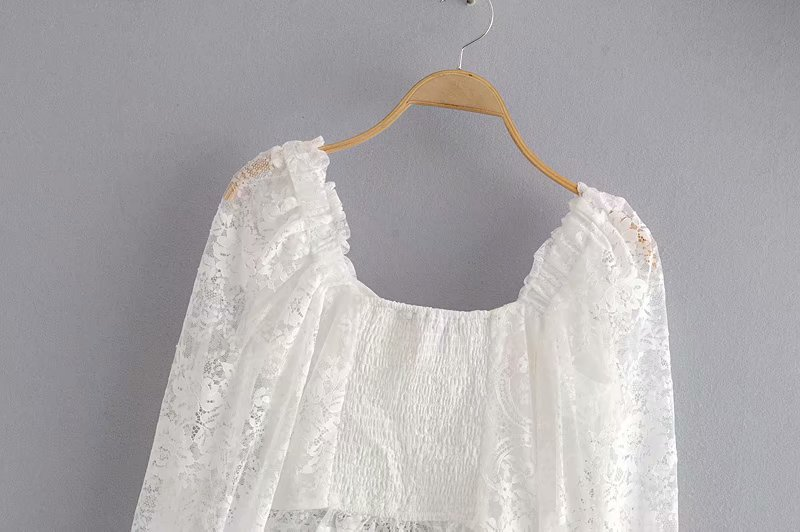Romantic Semi-sheer White Lace Square Neck Long Sleeve Blouse Top